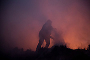 The firefighter helps other firefighter who fell down to the muddy bushes during fire fighting. On Thursday, December 7th, 2017 at Maricopa Highway in Ojai, California. (Photo by Yuki Iwamura)
