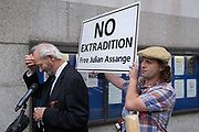 As, supporters of Wikileaks founder Julian Assange protest outside London's Old Bailey court as his fight against extradition to the US has resumed, his father Richard gives interviews on 7th September 2020, in London, England. Assange has been in Belmarsh Prison for 16 months and is wanted over the publication of classified documents in 2010 and 2011. If convicted in the US, he faces a possible penalty of 175 years in jail.