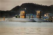 Japanese submarines docked in harbor Yokosuka Tokyo bay