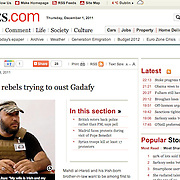 """Tearsheet of """"Libya War"""" (reportage only) published in Irish Times"""