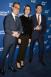 Nicolas Baretzki, Charlotte Casiraghi and Hugh Jackman attending the Montblanc Meisterstuck Le Petit Prince event at One World Trade Center Observatory on April 4, 2018 in New York City, NY, USA. Photo by Dennis Van Tine/ABACAPRESS.COM