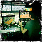 Roland Garros. Paris, France. May 27th 2012.Inside a TV booth..