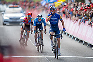 Yves Lampaert of Deceuninck - Quick Step celebrates as he wins the the AJ Bell Tour of Britain 2021, stage 7 between Hawick and Edinburgh, Scotland on 11 September 2021.