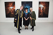 """18/04/2017 REPRO FREE:  <br /> President NUI, Galway Dr. Jim Browne with MFA Graduate Sherry Erskine and President Burren College of Art  Mary Hawkes-Greene<br />  <br /> The Irish and  international graduates included Elizabeth Matthews, conferred with  a PhD for her research on Utopian studies , and six international graduates whose work on display in the BCA gallery addressed the ultimate question, """"who am I called to be"""" In her address President of the college Mary Hawkes Greene referred to the unique place based educational  model  committed to  individual student centred  education accredited by NUIGalway , and how it effectively  embraces the often conflicting forces of the global and the local, the public and the private as well as the collective and the individual. <br /> .  Photo:Andrew Downes, xposure"""