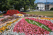 Landscaping with flowers in an urban park