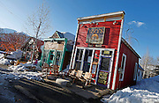 """SHOT 3/15/10 6:08:41 PM - Izzy's on Maroon Ave. in Crested Butte, Co. The small breakfast and lunch restaurant dishes out bagels and latkes as well as coffee and various juices. Crested Butte is a Home Rule Municipality in Gunnison County, Colorado, United States. A former coal mining town now called """"the last great Colorado ski town"""", Crested Butte is a destination for skiing, mountain biking, and a variety of other outdoor activities. .(Photo by Marc Piscotty / © 2010)"""