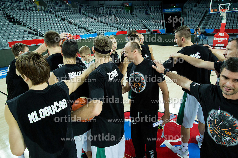 Jure Zdovc, head coach of Slovenia with players during practice session of Team Slovenia at Day 3 in Group C of FIBA Europe Eurobasket 2015, on September 7, 2015, in Arena Zagreb, Croatia. Photo by Vid Ponikvar / Sportida