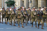 Soldiers in old World War 1 uniforms march during Brisbane ANZAC day 2013 parade <br /> <br /> Editions:- Open Edition Print / Stock Image