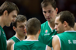 Erazem Lorbek (15) of Slovenia, Goran Dragic (11) of Slovenia, Jaka Lakovic (5) of Slovenia, Primoz Brezec (7) of Slovenia and Samo Udrih (6) of Slovenia during the basketball match at Preliminary Round of Eurobasket 2009 in Group C between Slovenia and Spain, on September 09, 2009 in Arena Torwar, Warsaw, Poland.Spain won 90:84 after overtime. (Photo by Vid Ponikvar / Sportida)