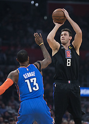 March 8, 2019 - Los Angeles, California, U.S - Danilo Gallinari #8 of the Los Angeles Clippers takes a shot over Paul George #13 of the Oklahoma Thunder during their NBA game on Friday March 8, 2019 at the Staples Center in Los Angeles, California. JAVIER ROJAS/PI (Credit Image: © Prensa Internacional via ZUMA Wire)