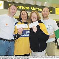 19 Febraury 2007; Athletes, from left, Mark Rooney, from Dublin, Susan Crawford, Miltown Malbay, Co. Clare, Miriam O'Connor, Quilty, Co. Clare, and her brother Thomas before departing from Dublin Airport to participate in 10 marathons in under 10 days, in aid of the Support an Athlete campaign for Special Olympics Ireland. The marathons are located in Antarctica (South Pole) and Tierra del Feugo in Buenos Aires, Argentina and South America. Dublin Airport, Dublin. Picture credit: Pat Murphy / SPORTSFILE