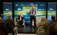 Tom Steyer addresses topics raised by journalist Dave Solomon during the Presidential Candidate Forum at Lakes Region Community College on Thursday afternoon.  (Karen Bobotas/for the Laconia Daily Sun)