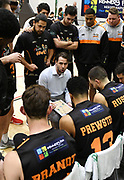 Taylor Hawks Head Coach Zico Coronel speaks to the team in the Sal's Pizza NBL Round 8 match, Hawkes Bay Hawks vs Auckland Rangers, Pettigrew Green Arena, Napier, Saturday, June 16, 2018. Copyright photo: Kerry Marshall / www.photosport.nz