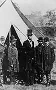 President Arbraham Lincoln posed with Union Officers 1862. Taken during his visit to Antietam, Maryland. Alexander Gardner