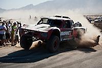 Robbie Pierce Trophy Truck arrives at finish of 2012 San Felipe Baja 250, San Felipe, Baja California, Mexico.