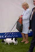 The Duchess of Cornwall and  her Jack Russell 'Tosca' Cornwall.  Macmillan Dog Day in aid of Macmillan Cancer Relief. Royal Hospital Chelsea, 5 July 2005. ONE TIME USE ONLY - DO NOT ARCHIVE  © Copyright Photograph by Dafydd Jones 66 Stockwell Park Rd. London SW9 0DA Tel 020 7733 0108 www.dafjones.com