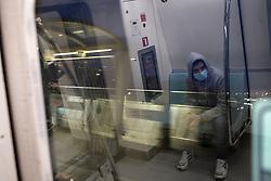 Man with a mask use public transportation in Halic, Istanbul, Turkey, 14 March 2020. Turkish Health Minister Fahrettin Koca was announced the 6th coronavirus COVID-19 case in Turkey. Photo by Saner Sen/NARphotos/ABACAPRESS.COM
