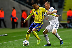 November 20, 2018 - Stockholm, Sweden - Martin Olsson (L) of Sweden and Vladislav Ignatyev of Russia vie for the ball during the UEFA Nations League B Group 2 match between Sweden and Russia on November 20, 2018 at Friends Arena in Stockholm, Sweden. (Credit Image: © Mike Kireev/NurPhoto via ZUMA Press)