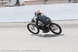 Mark Hanna on his 61 ci racer at the Mark Hanna racing his 61 ci board track style racer in the Sons of Speed Vintage Motorcycle Races at New Smyrina Speedway. New Smyrna Beach, USA. Saturday, March 9, 2019. Photography ©2019 Michael Lichter.