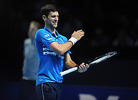 Tennis - 2019 Nitto ATP Finals at The O2 - Day Three<br /> <br /> Singles Group Bjorn Borg: Novak Djokovic (Serbia) vs.Domininic Thiem (Austria)<br /> <br /> Novak Djokovic after his shot went wide<br /> <br /> COLORSPORT/ANDREW COWIE