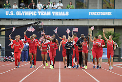Olympic Trials Eugene 2012: Olympians wearing USA uniforms on victory lap