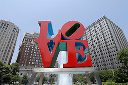 LOVE statue at JFK Plaza..Philadelphia, Pennsylvania, PA USA.  Photo copyright Lee Foster, 510-549-2202, lee@fostertravel.com, www.fostertravel.com.  Photo 328-30569