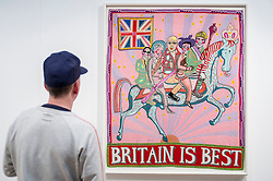 "© Licensed to London News Pictures. 22/04/2015. Piccadilly, London. A man looks at Grayson Perry's ""Britain Is Best"" at the 30th London Original Print Fair, Europe's largest works–on–paper event, which takes place at the Royal Academy of Arts from 23 to 26 April 2015.  On display are works from all periods of printmaking, from the earliest woodcuts of Dürer, to the latest editions by contemporary masters. Photo credit : Stephen Chung/LNP"