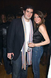 SARAH POSNER and ZAFAR RUSHDIE son of writer Salman Rushdie at the Myla Debutantes Coming-Out show held at The Porchester Hall, Porchester Road, London on 31st January 2006.<br />