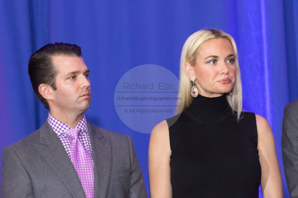 Donald Trump, jr. with wife Vanessa Trump as they celebrate the victory of billionaire and GOP presidential candidate Donald Trump in the South Carolina Republican primary February 20, 2016 in Spartanburg, South Carolina, USA .