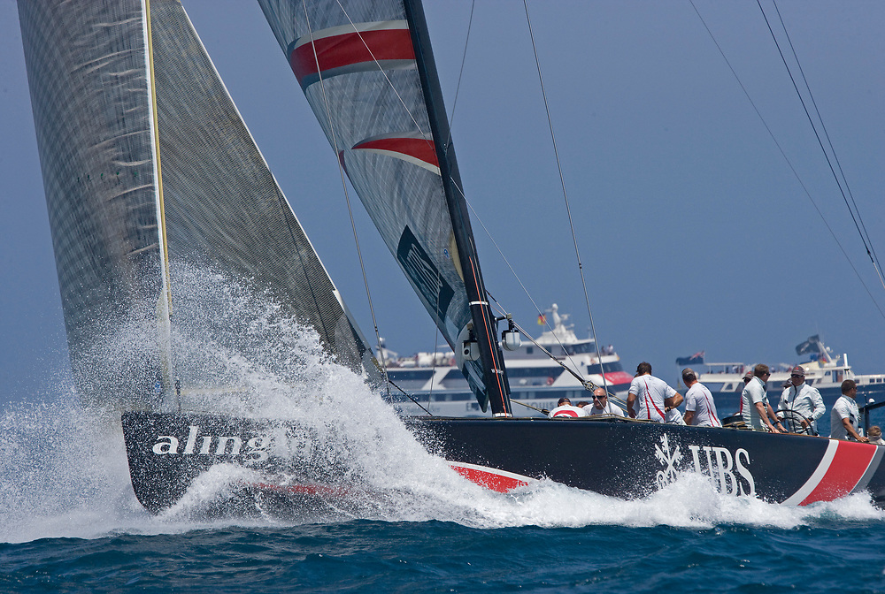 Race 7 ALINGHI beats Emirates Team New Zealand by 1 second and wins the America's Cup <br /> 32nd America's Cup, 2007<br /> Valencia, Spain<br /> © Daniel Forster
