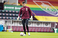 Burnley goalkeeper Nick Pope (1) warming up before the FA Cup match between Burnley and Milton Keynes Dons at Turf Moor, Burnley, England on 9 January 2021.