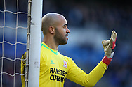 Darren Randolph, the goalkeeper of Middlesbrough lines up his defensive wall. EFL Skybet championship match, Cardiff city v Middlesbrough at the Cardiff city Stadium in Cardiff, South Wales on Saturday 17th February 2018.<br /> pic by Andrew Orchard, Andrew Orchard sports photography.