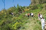 Israel, Upper Galilee, Iyyon River Nature reserve a school children on a field day hiking in the reserve. Spring March 2008