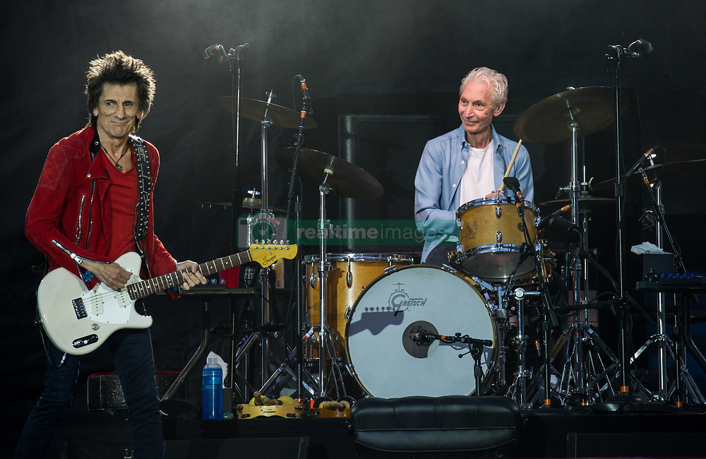Ronnie Wood and Chalire Watts of The Rolling Stones performs on stage at Ricoh Arena on June 02, 2018 in Coventry, England. Picture date: Saturday 02 June, 2018. Photo credit: Katja Ogrin/ EMPICS Entertainment.