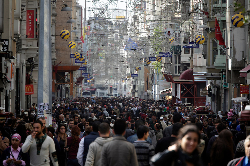 the very crowded Istiklal Caddesi shopping street in Istanbul Turkey