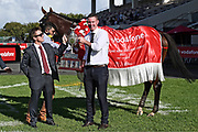 Trainers Lance O'Sullivan and Andrew Scott with Derby winner Rocket Spade.<br /> Race 9, Vodafone NZ Derby (G1) 2400.<br /> Vodafone Derby Day at Ellerslie Race Course, Auckland on Sunday 7th March 2021 during lockdown level 2.<br /> Copyright photo: Alan Lee / www.photosport.nz