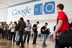 Attendees line up to attend keynotes during the Google I/O Developer Conference in San Francisco, California.
