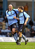 Photo: Greig Cowie<br />Nationwide League Division 1. Coventry v Wimbledon. 08/03/2003<br />Delighted player manager Gary McAllister congratulates goalscorer John Eustace