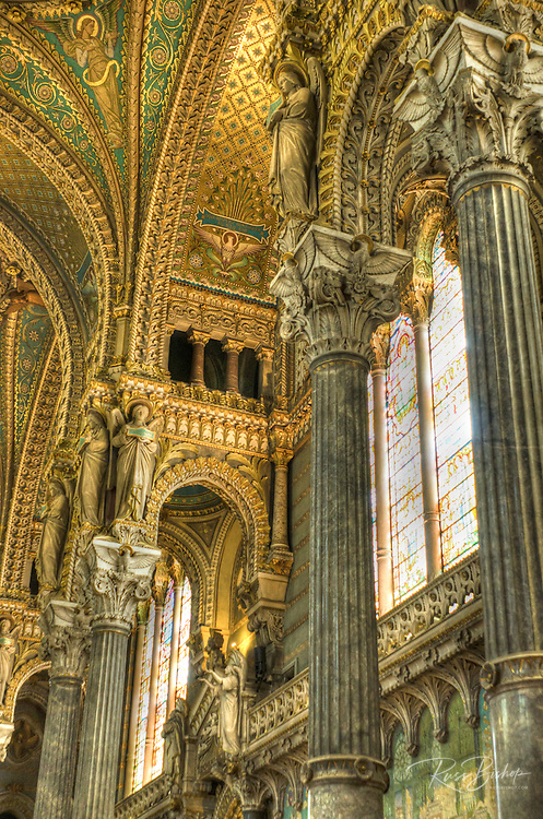 Interior of the Fourvière Basilica in old town Vieux Lyon, France (UNESCO World Heritage Site)