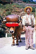 A series of images about port wine production in Portugal c 1960 - portrait of man standing next to traditional ox cart