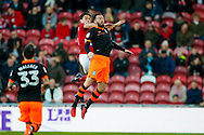 Middlesbrough defender Bernardo Espinosa (5) and Sheffield Wednesday forward Steven Fletcher (6) go up for a header during the The FA Cup match between Middlesbrough and Sheffield Wednesday at the Riverside Stadium, Middlesbrough, England on 8 January 2017. Photo by Simon Davies.