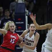 Breanna Stewart, UConn, defends against Stephanie Collins, SMU,  during the UConn Vs SMU Women's College Basketball game at Gampel Pavilion, Storrs, Conn. 24th February 2016. Photo Tim Clayton