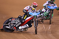 Maciej Janowski in control during the 2019 Adrian Flux British FIM Speedway Grand Prix at the Principality Stadium, Cardiff, Wales on 21 September 2019.