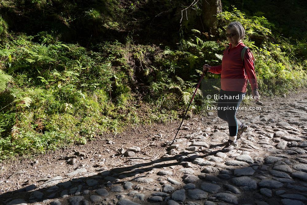 A lady walker makes her way along the stony road in Dolina Chocholowska, a hiking route in the Polish Tatra mountains, on 17th September 2019, near Zakopane, Malopolska, Poland.