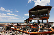 A tsunami-wrecked hotel on the coast in the town of Tomioka, Futaba District of Fukushima, Japan. Thursday May 2nd 2013. The town was evacuated on March 12th after the March 11th 2011 earthquake and tsunami cause meltdowns at the nearby Fukushima Daichi nuclear power station. It lies well within the 20 kms exclusion zone though parts of the town have recently been opened again to allow locals to visit their property during daylight hours.