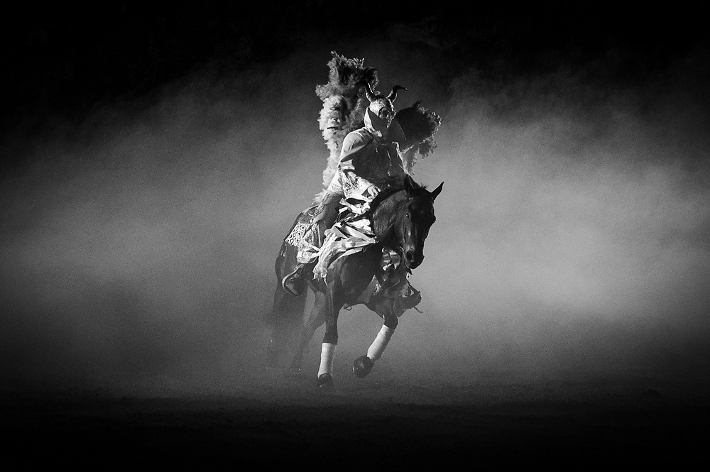 Competition winner SHAREE SCHWARTZENBERGER performs during the 25th Anniversary Freestyle Reining competition at the National Western Stock Show.