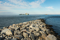 A cargo ship passes over the tunnel section of the Chesapeake Bay Bridge Tunnel.