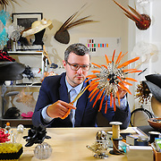 Milliner William Chambers in his studio at work., Scottish Fashion Award winner, also nominated as Accessory Designer of the Year at this year's Scottish Fashion Awards for the fifth year running, was in December Vogue. Working with established brands and bespoke online for own growing custmer base. Has own studio, showroom and online hat shop. Worn by Ana Matroic, Kelis.<br />  Picture Robert Perry The Scotsman 17th May 2012