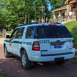 Benton, PA, USA - June 15, 2013: The Park Ranger's vehicle at Ricketts Glen State Park in northern Pennsylvania.