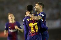 FC Barcelona's Lucas Digne, Ousmane Dembele and Philippe Coutinho during La Liga match. April 17,2018. (ALTERPHOTOS/Acero)